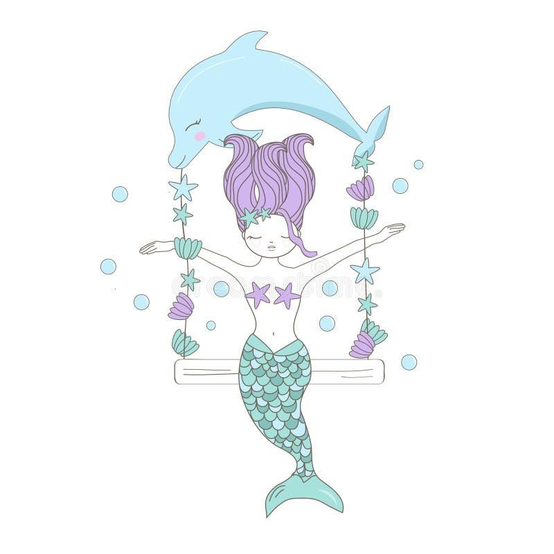 Mała ręka rysujący delfin, syrenka i denna gwiazda w pastelowych kolorach, Śliczna ilustracja dla dziecko prysznic, urodziny, kos royalty ilustracja