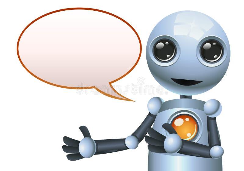 Mała robota bąbla rozmowa na odosobnionym białym tle ilustracji