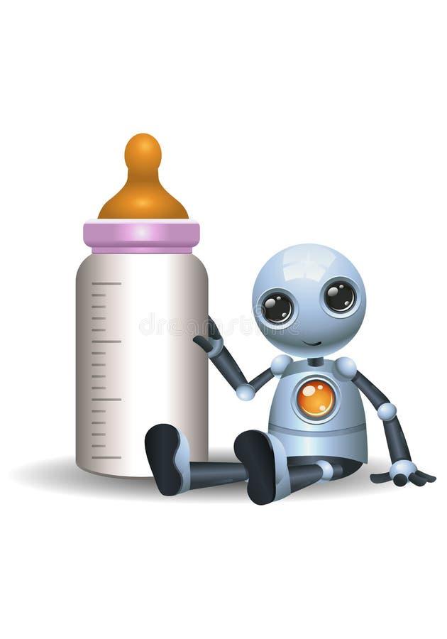 Mała robota chwyta dziecka butelka ilustracji