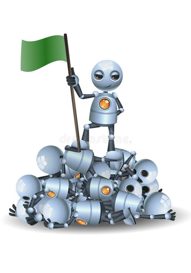 Mała robota chwyta flaga na górze stosu inni roboty ilustracja wektor