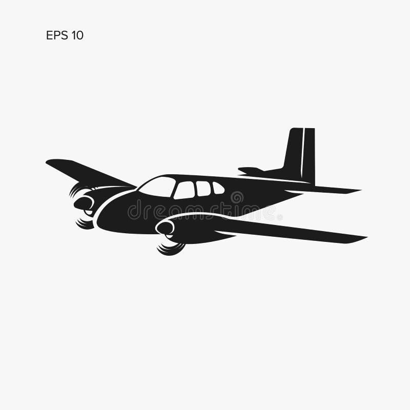 Mała rocznika płaskiego wektoru ilustracja Bliźniaczy silnik napędzający pasażerski samolot royalty ilustracja
