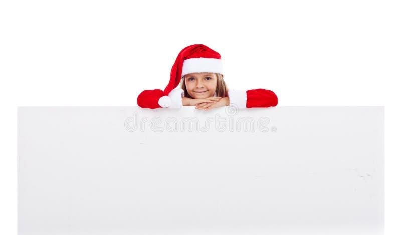 Mała Santa dziewczyna z wielkim sztandarem zdjęcia royalty free