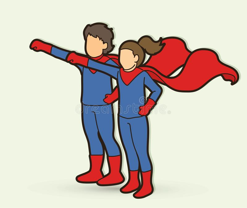 Mała Super bohatera dziewczyny i chłopiec pozycja wraz z kostiumową kreskówki grafiką ilustracji