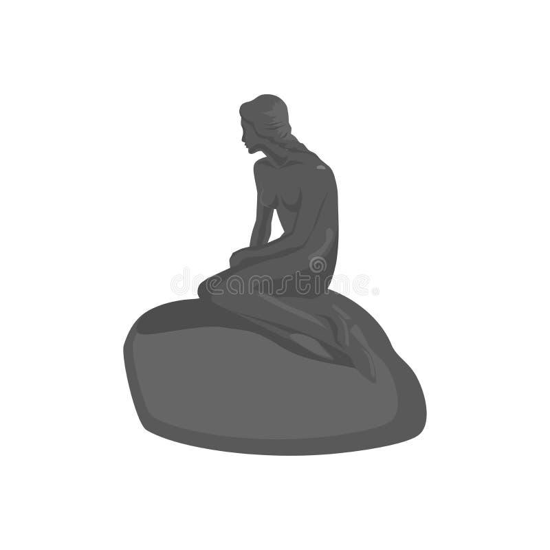 Mała syrenki statua w Kopenhaga Dani royalty ilustracja