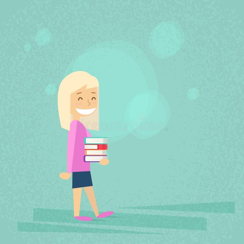 Mała Szkolna dziewczyna Niesie stertę książki royalty ilustracja