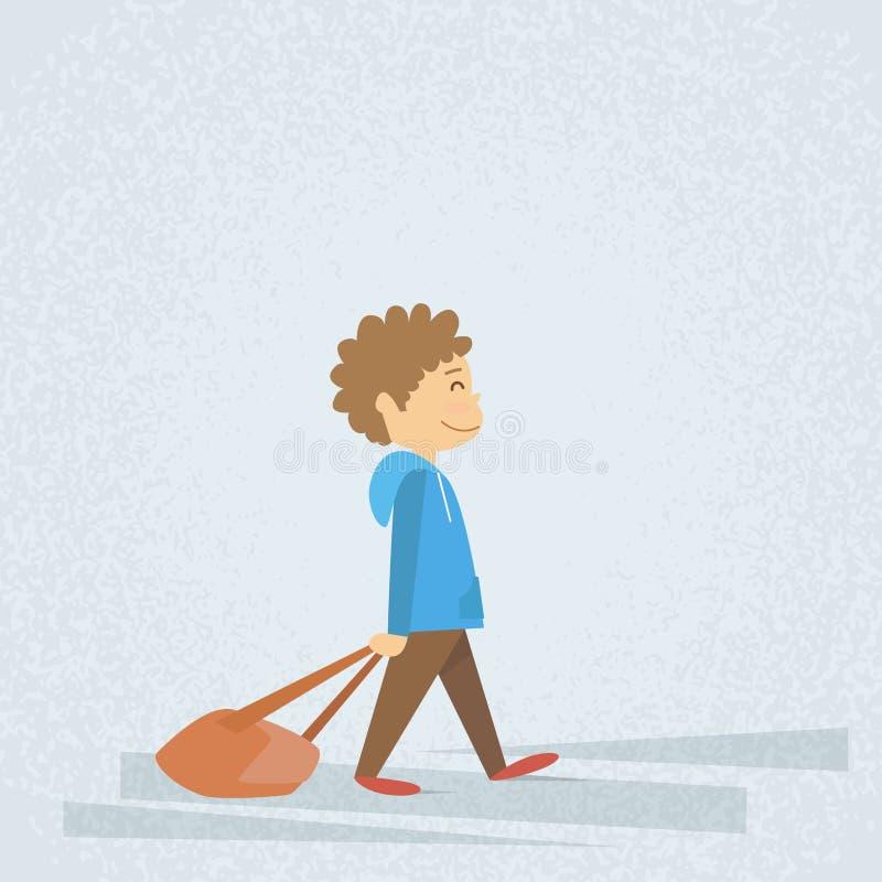 Mała Szkolnej chłopiec spaceru chwyta torba, Wlec plecaka royalty ilustracja