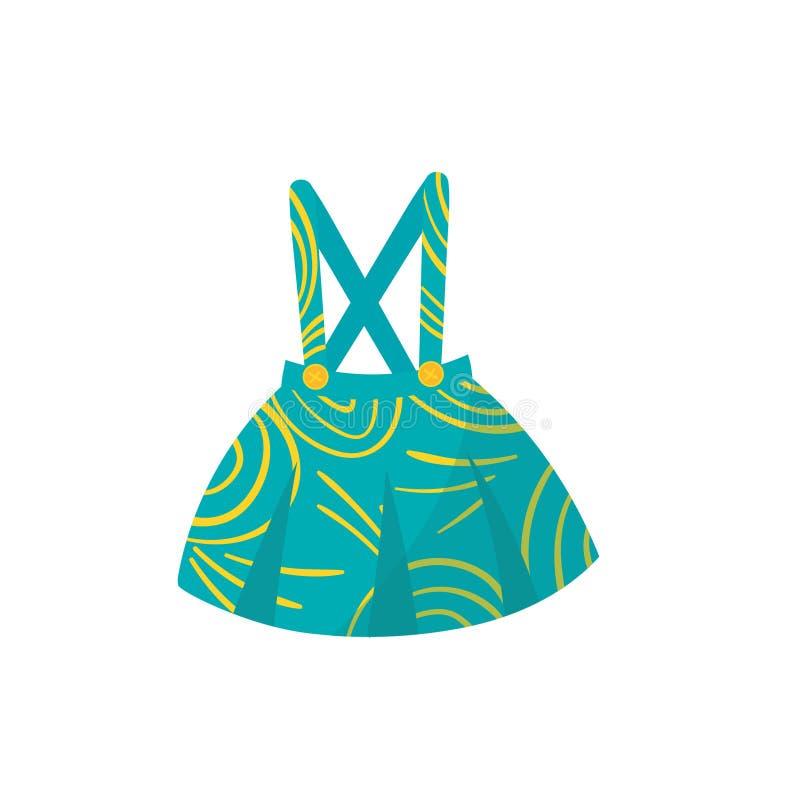 Mała turkus spódnica z brasami, guzikami i koloru żółtego wzorem, Elegancka dzieciak szata Śliczna odzież dla berbeć dziewczyny ilustracja wektor