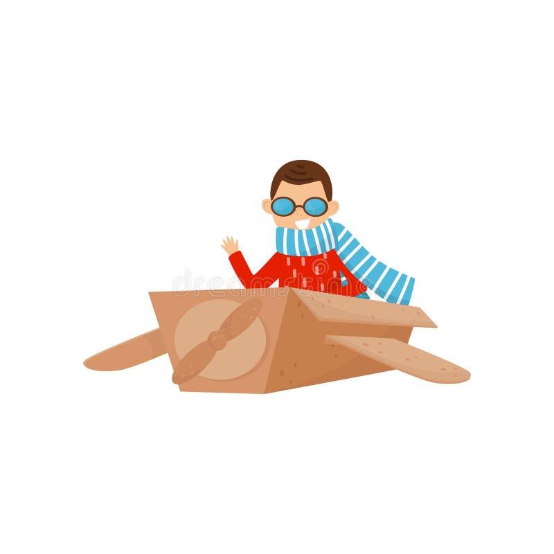 Mała uśmiechnięta chłopiec bawić się z samolotem robić karton Dzieciaka sen zostać pilotowy Rola sztuki Płaski wektorowy projekt ilustracji