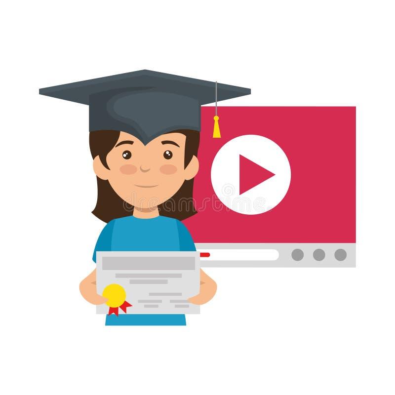 Mała uczennica z dyplomem i odtwarzacz wideo royalty ilustracja