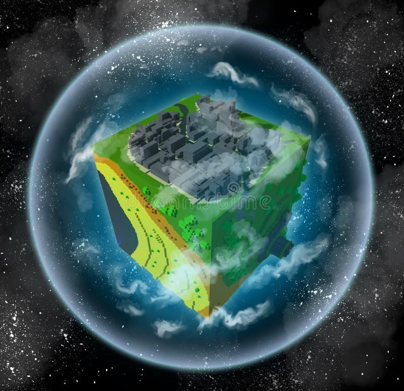 Mała voxel planeta royalty ilustracja