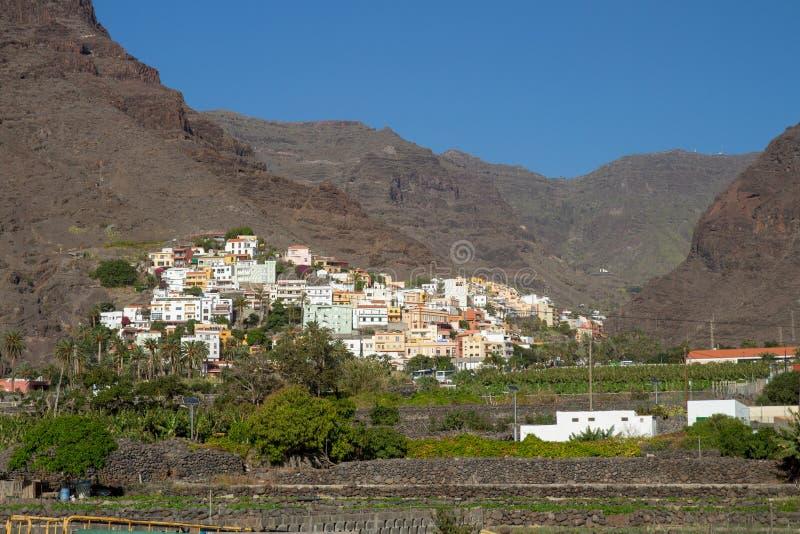 Mała wioska los angeles Calera w Valle Gran Rey, los angeles Gomera, wyspy kanaryjskie zdjęcie stock