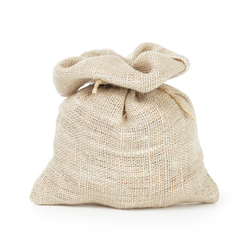 Mała workowa torba dla kawy lub pieniądze zdjęcie royalty free