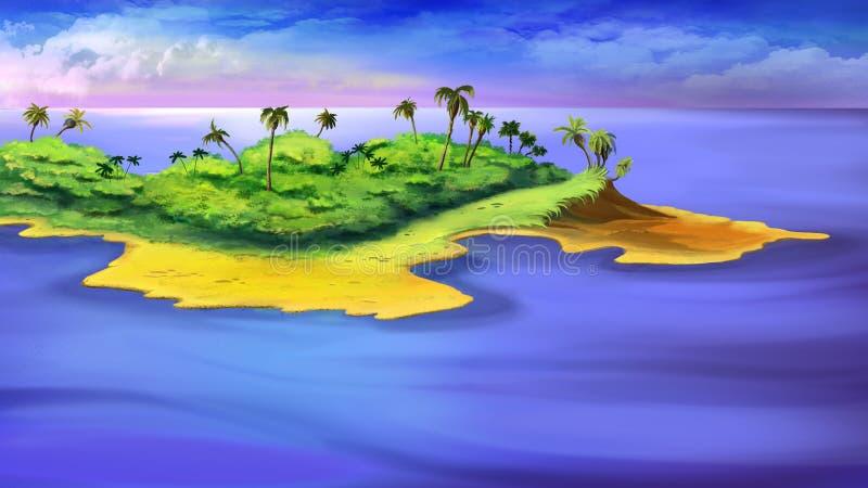 Mała wyspa w oceanie ilustracja wektor