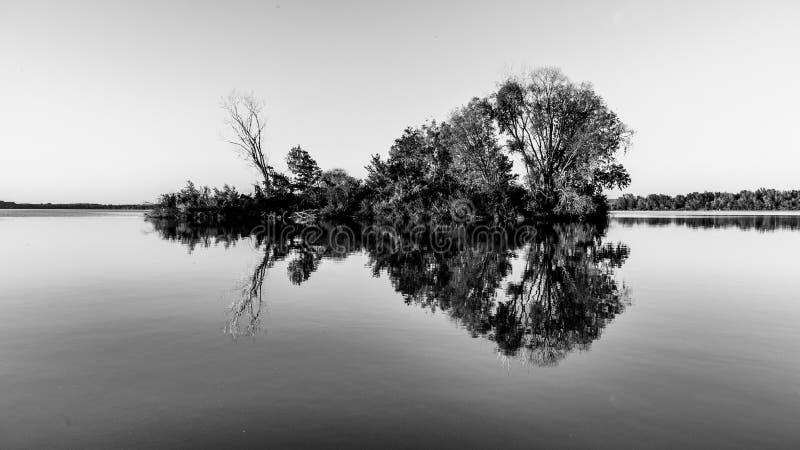 Mała wyspa z drzewami odbijającymi w spokój wodzie Nove Mlyny tama, Moravia, republika czech fotografia stock