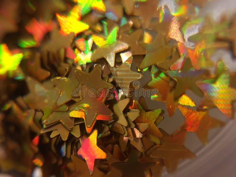 Mała złoto gwiazda, błyskotliwość dla gwoździa obrazu obrazy stock