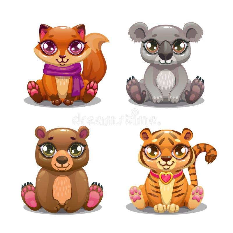 Małe śliczne kreskówki zwierzęcia domowego ikony ustawiać royalty ilustracja