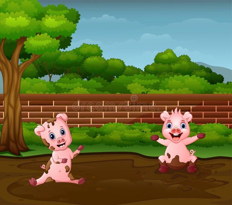 Małe świnie bawić się błoto w brudnej kałuży royalty ilustracja