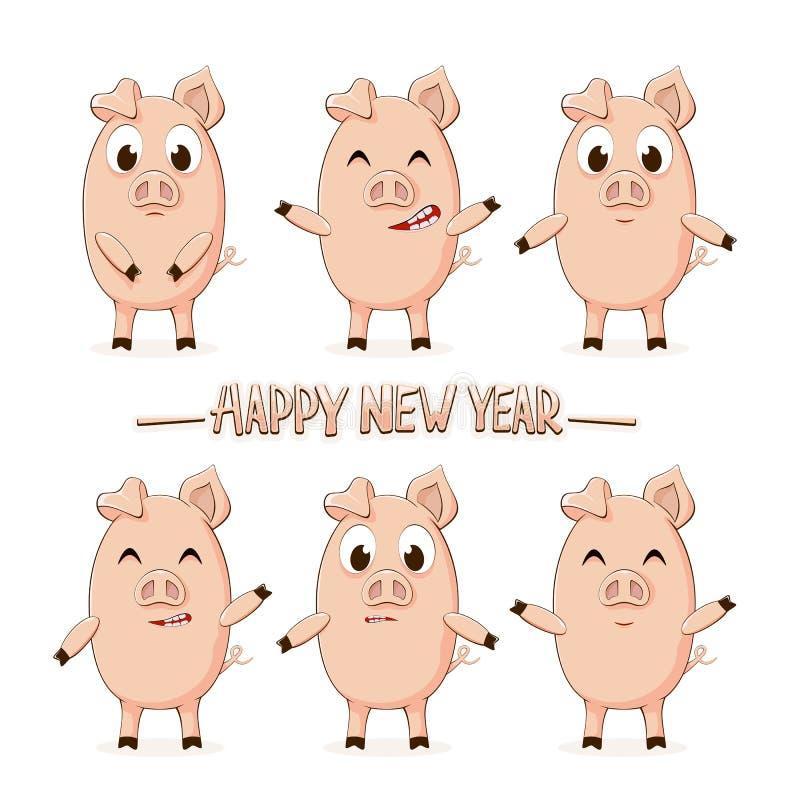 Małe świnie i pisać list Szczęśliwego nowego roku ilustracja wektor
