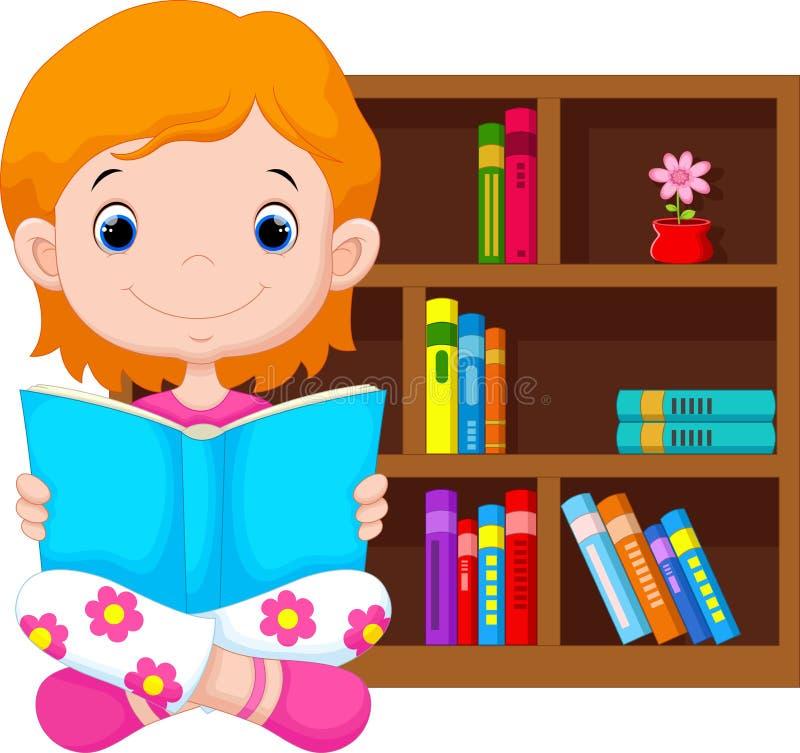 małe czytanie książki dziewczyny ilustracji