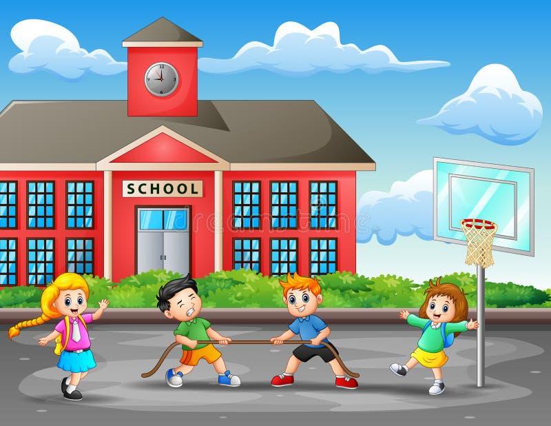 Małe dzieci bawić się zażartą rywalizację na sądzie ilustracja wektor