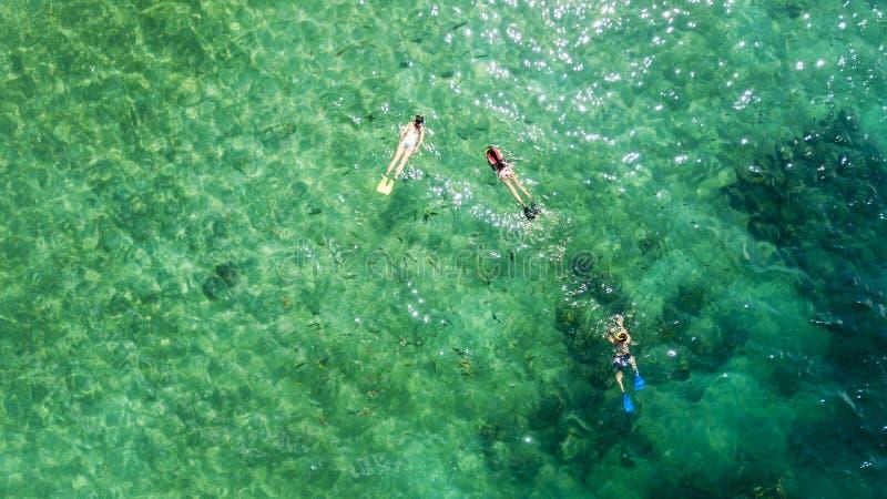 Ma?e dzieci snorkeling z ich matk? obraz royalty free