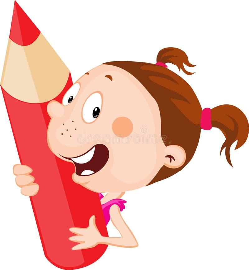 Małe dziecko - dziewczyna trzyma czerwonego ołówkowego zerkanie płaskiego projekt ilustracyjny out ilustracji