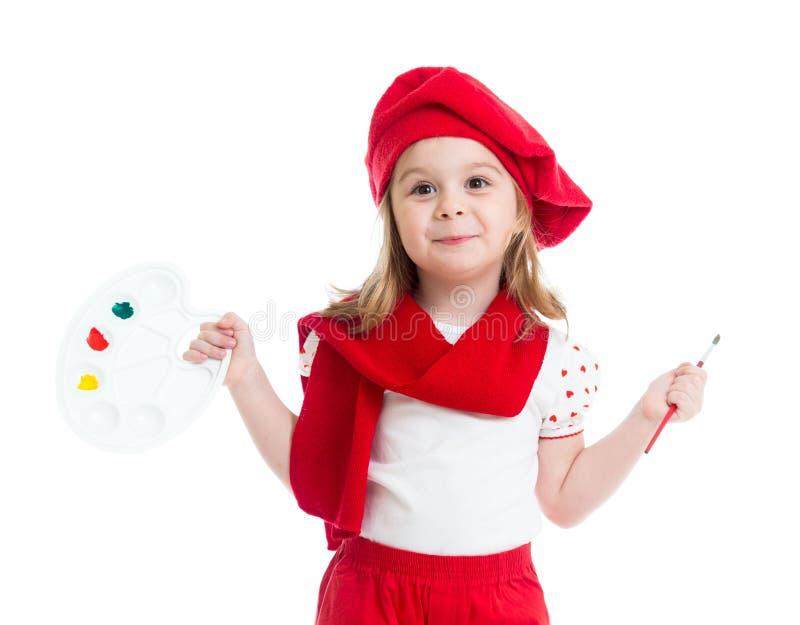 Małe dziecko dziewczyna w artysty kostiumu odizolowywającym zdjęcia royalty free