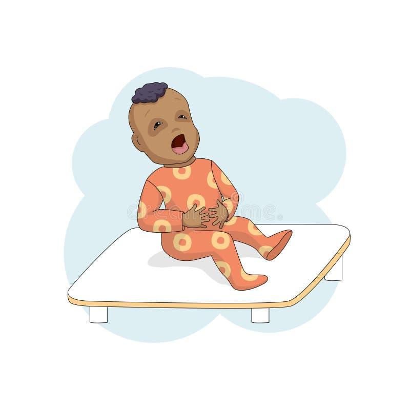 Małe dziecko w klinika płaczach, przylega żołądek ilustracja wektor