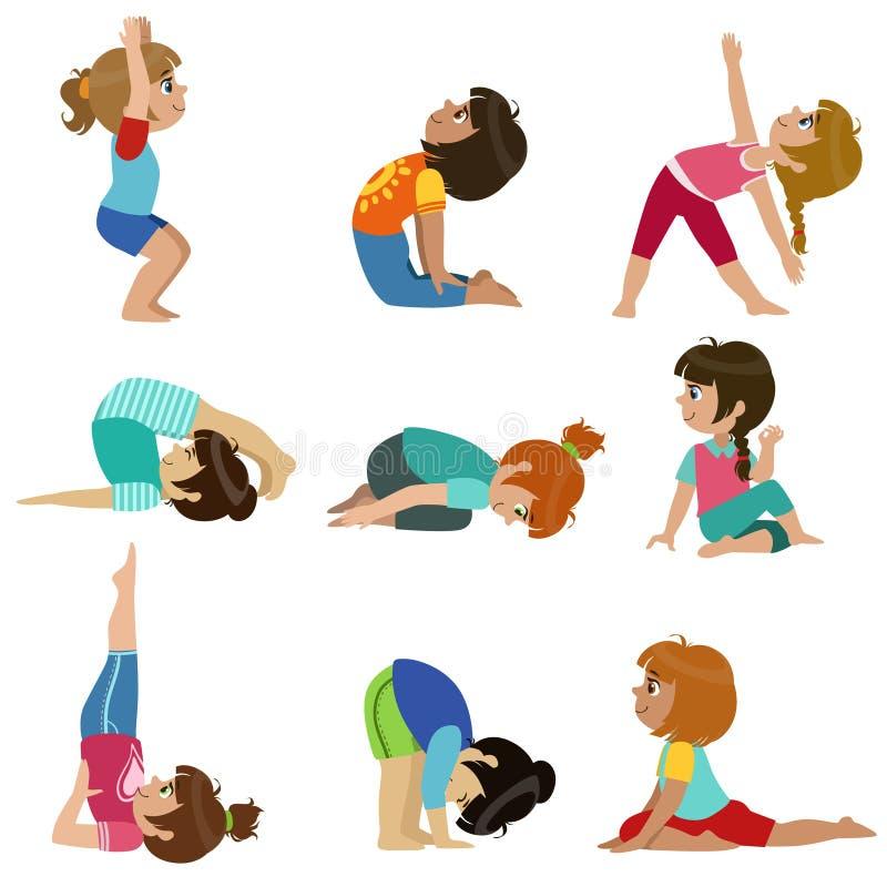 Małe Dziewczynki Robi joga Ustawiający royalty ilustracja