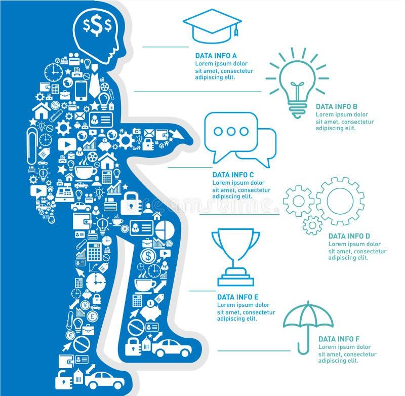 Małe ikony tworzą ilustrację przedsiębiorca w górę schodków z biznesowym Infographic projekta szablonem royalty ilustracja