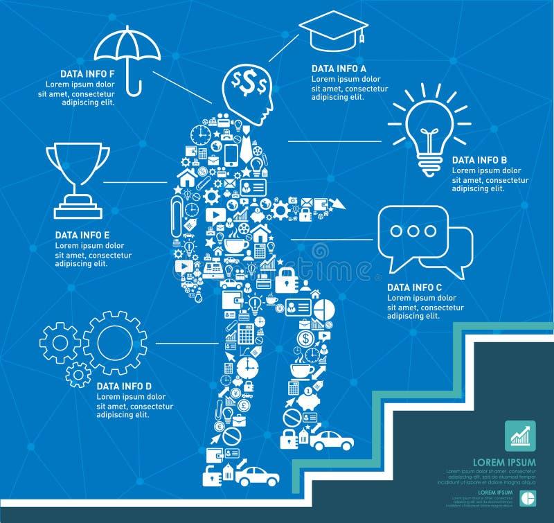 Małe ikony tworzą ilustrację przedsiębiorca w górę schodków z biznesowym Infographic projekta szablonem ilustracja wektor