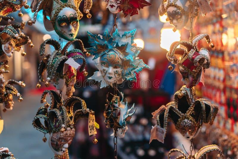 Małe karnawałowe maski, venetian pamiątki fotografia stock