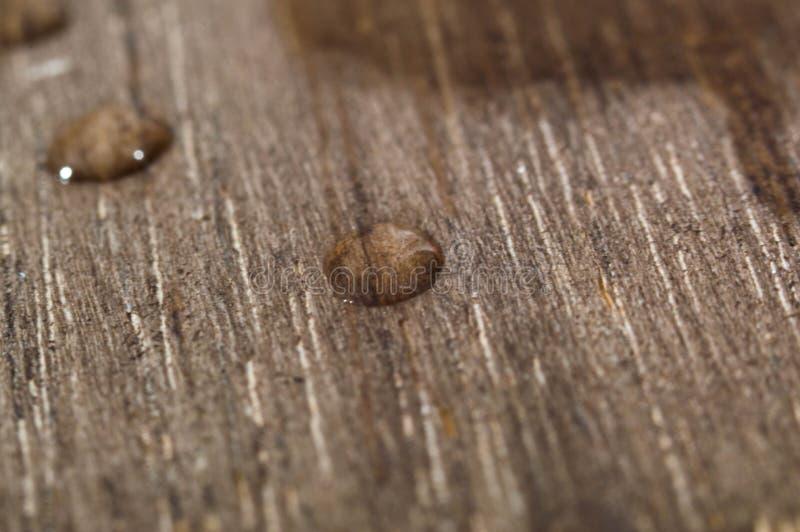 małe krople woda na drewnie zdjęcie stock