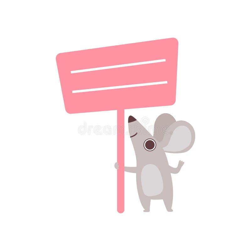Małe myszy mienia menchie Opróżniają sztandar, Śliczny kreskówki zwierzę z puste miejsce znaka deski wektoru ilustracją royalty ilustracja