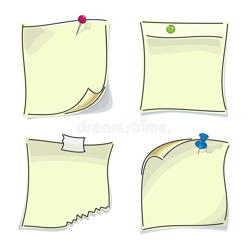Małe papierowe kleiste notatki przyczepiający guziki royalty ilustracja