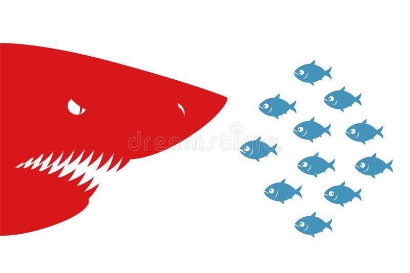 Małe ryba i rekin royalty ilustracja