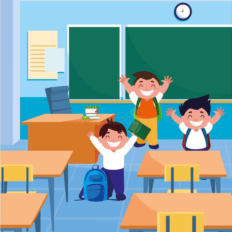 Małe uczeń chłopiec w sali lekcyjnej ilustracji