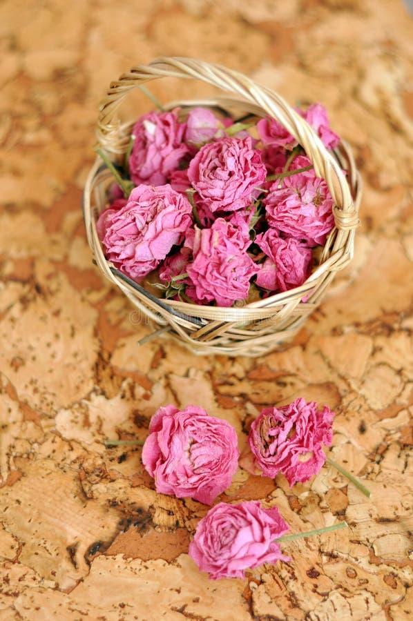 Małe wybór róże w handmade słomianym koszu zdjęcie royalty free