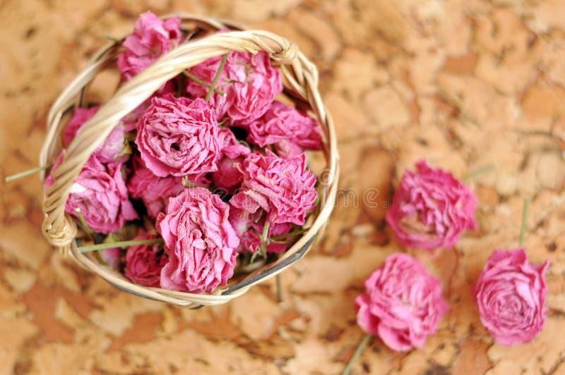 Małe wybór róże w handmade słomianym koszu fotografia royalty free