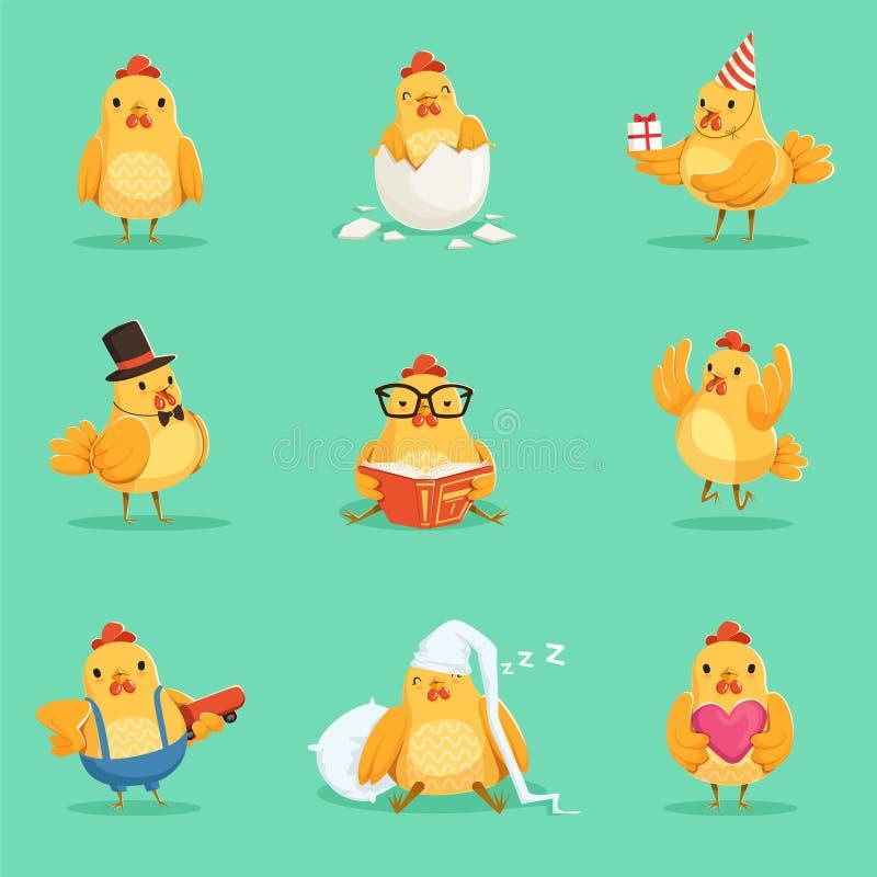 Małego Żółtego kurczaka kurczątka Różne emocje I sytuacje Ustawiający Śliczne Emoji ilustracje ilustracja wektor