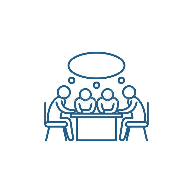 Małego biznesu spotkania linii ikony pojęcie Małego biznesu spotkania płaski wektorowy symbol, znak, kontur ilustracja royalty ilustracja