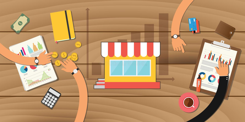 Małego biznesu wzrostowy sklep z wykres drużyny pracą ilustracja wektor