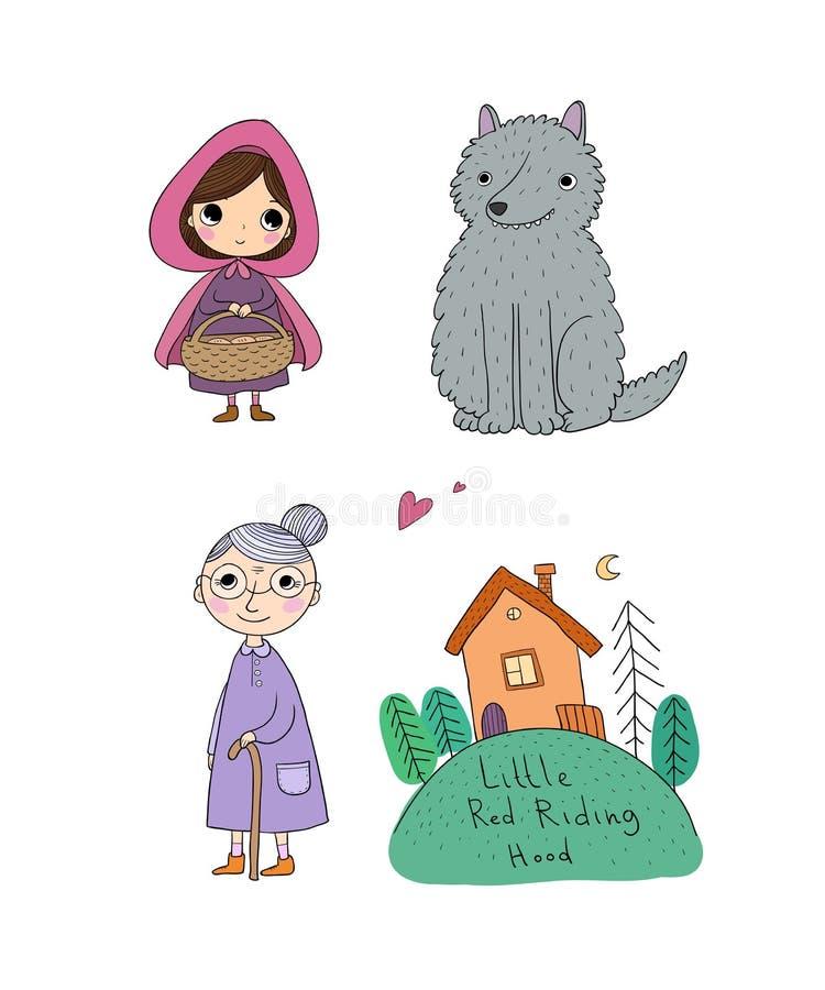 Małego Czerwonego Jeździeckiego kapiszonu bajka Mała śliczna dziewczyna, wilk, babcia i dom, royalty ilustracja