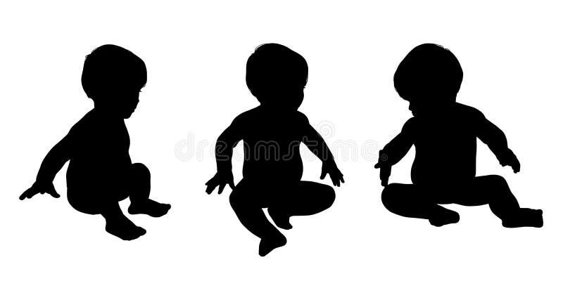 Małego dziecka siedzące sylwetki ustawiają 1 ilustracja wektor