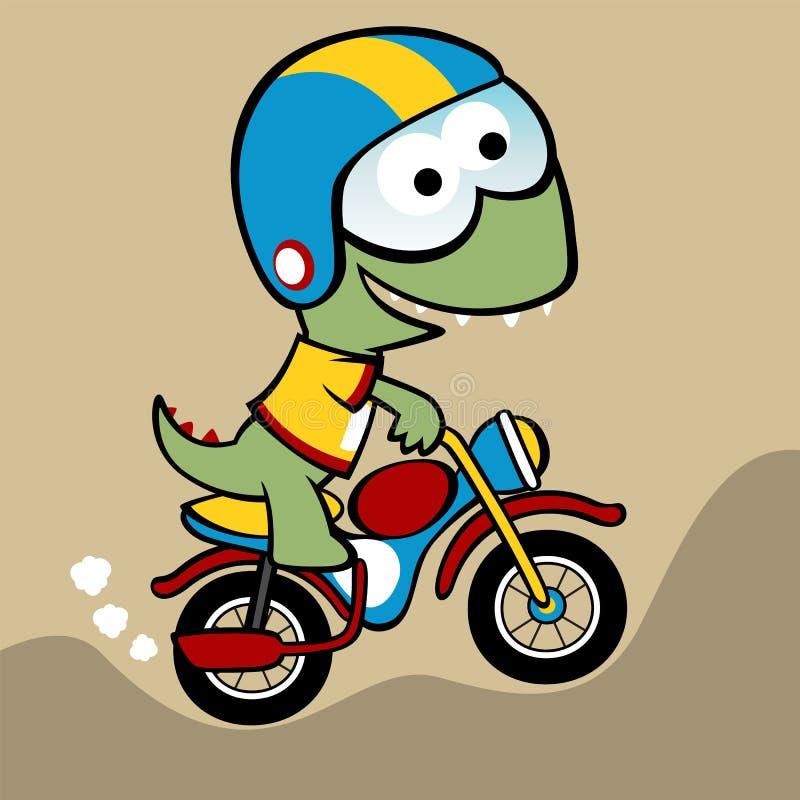 Małego potwora rowerzysty śmieszna kreskówka ilustracji