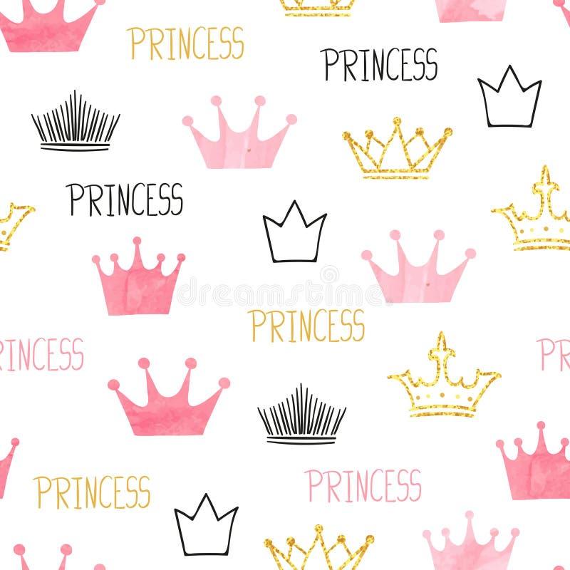 Małego princess bezszwowy wzór w różowych i złotych kolorach ilustracji