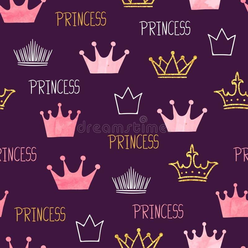 Małego princess bezszwowy wzór z akwarelą i połyskiwać koronami ilustracja wektor
