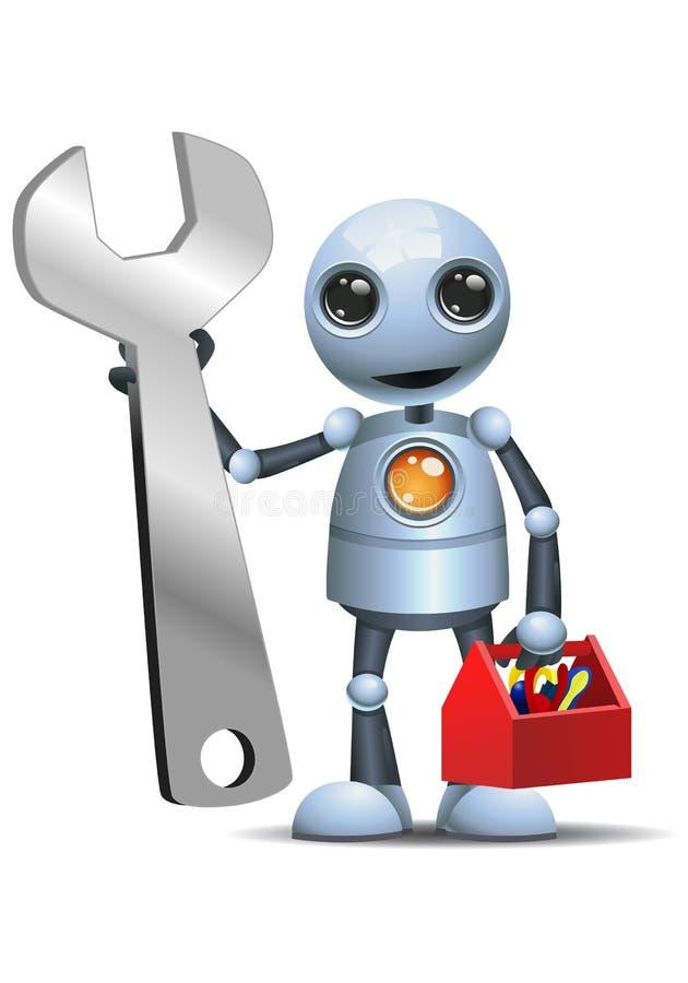 Małego robota pracownika chwyta przydatni narzędzia ilustracja wektor