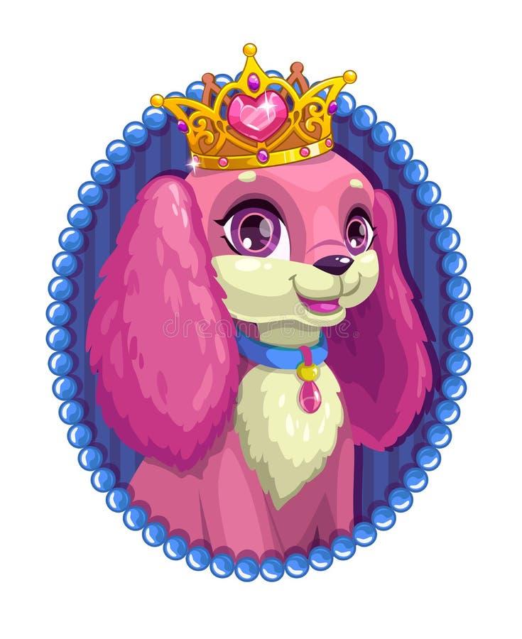 Małej ślicznej kreskówki puszysty psi portret royalty ilustracja