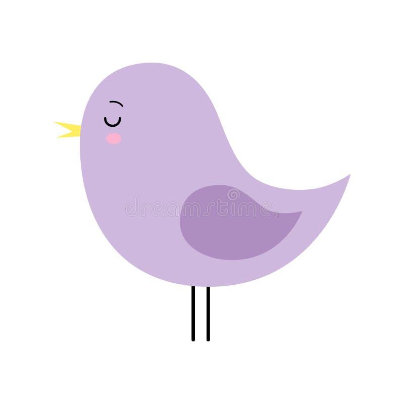 Małej ślicznej purpurowej wiosny ptasi projekt t?a posta? z kresk?wki zuchwa?ych ?licznych ps?w szcz??liwa g?owa odizolowywa? u?m ilustracji